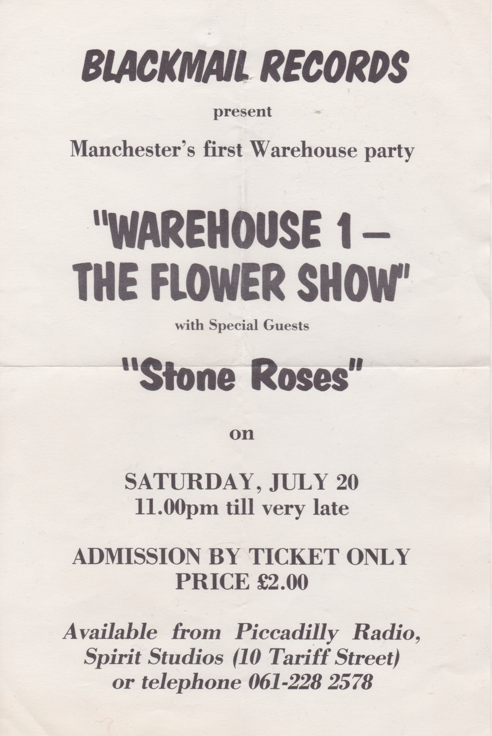 the stone roses flyer warehouse parties 20th july 1985