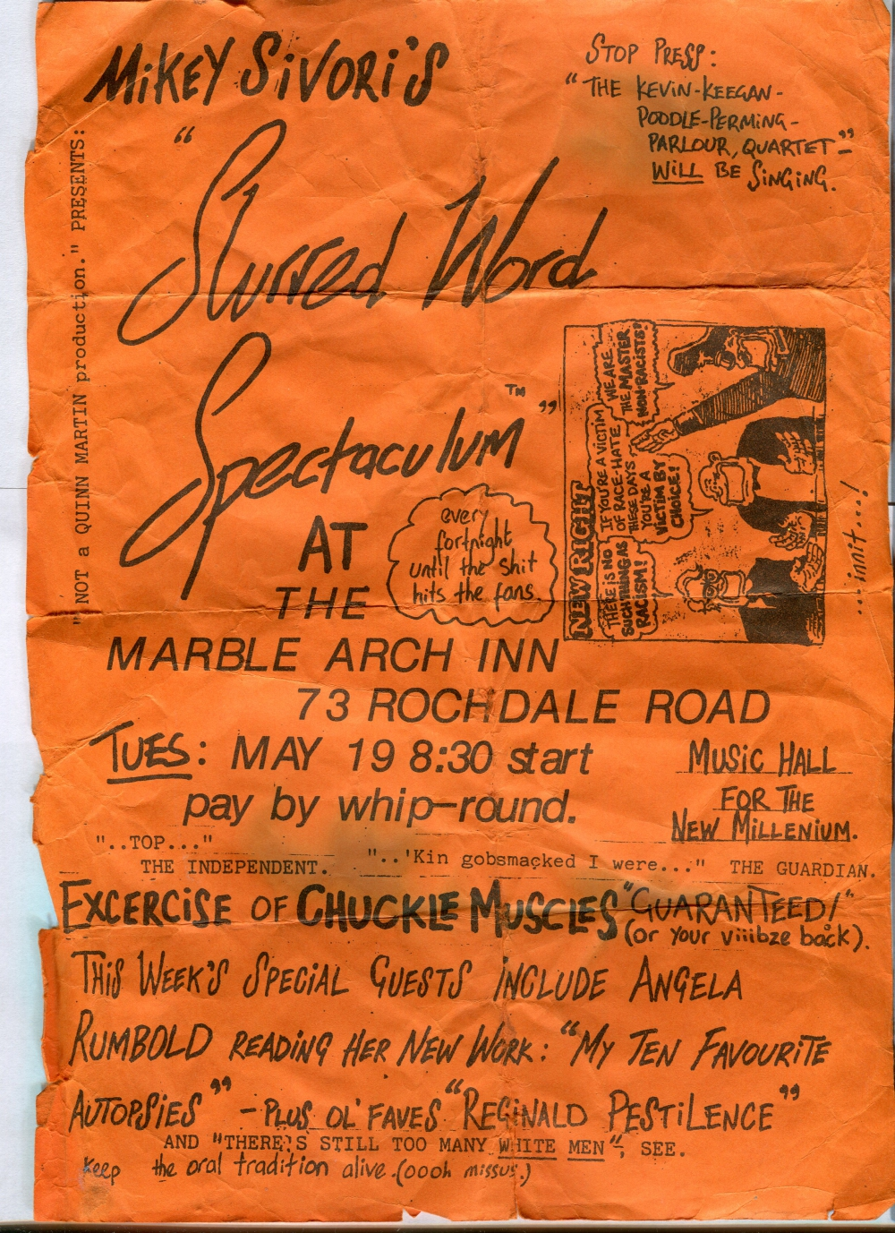 Flyer The Marble Arch 19th May 1992 Manchester