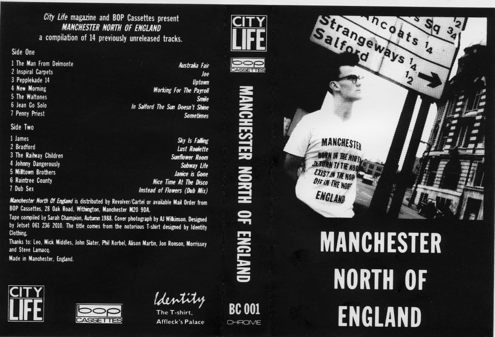 Original sleeve cover to the Bop Cassettes/City Life compilation album, featuring previously unreleased Manchester indie bands, such as James and Inspiral ...