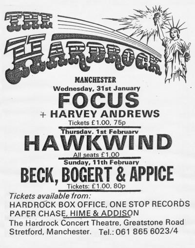advert - hardrock concert theatre  1973