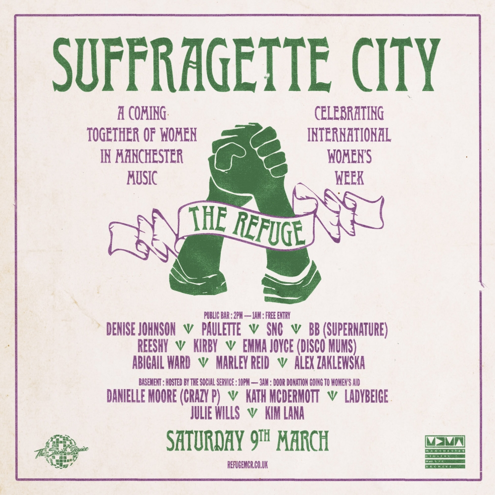 Suffragette City, times and line-up